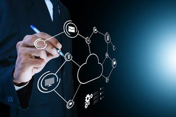 Businessman drawing cloud computing concept