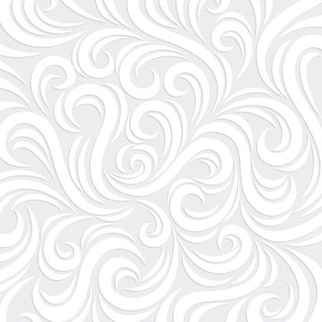 White Vector Swirl Background with shadow