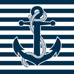 Vintage Anchor and Striped Background