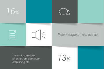 Square infographic tab. Box diagram. Vector template.