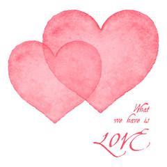 Watercolor hearts card.