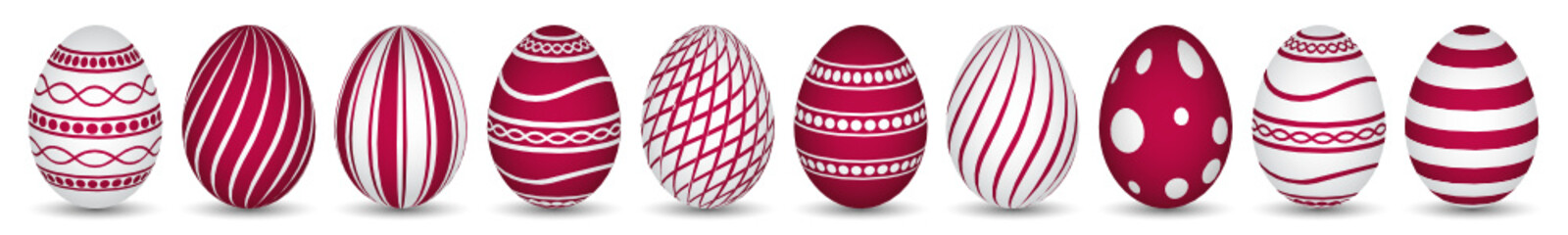 10 easter eggs in red