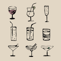 Cocktails  hand drawn 2