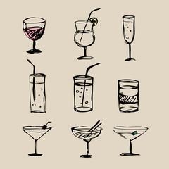 Cocktails  hand drawn 2