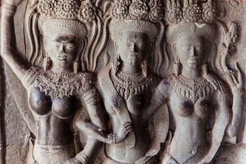 Bas-relief on the wall of Angkor Wat Temple