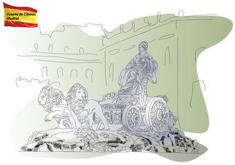 Cibeles Fountain on the Square Cibeles in Madrid