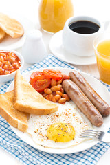 Traditional delicious English breakfast with sausages
