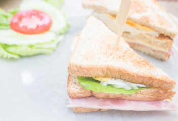 Whole wheat ham and cheese sandwich