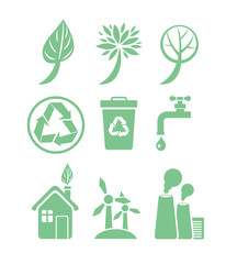 Green energy and ecology icon set