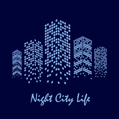vector illustration of night city with skyscrapers