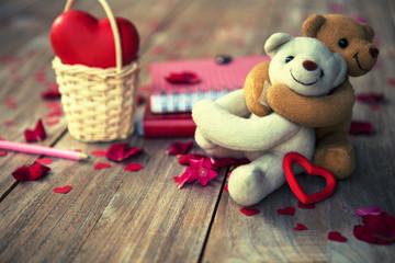 lovely teddy bears on wooden floor for valentines day, grunge fi