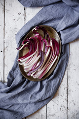 overhead shot of fresh radicchio treviso quality on tray