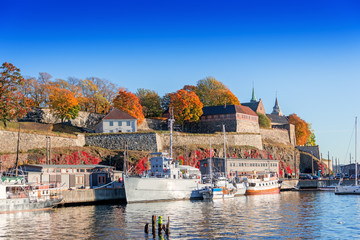 Akershus fortress on autumn day at sunset