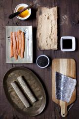 overhead shot of ingredients for preparing hosomaki sushi