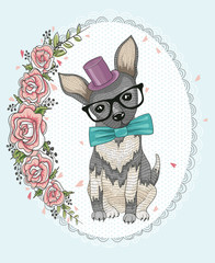Cute hipster dog and flower frame.
