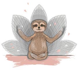 Cute sloth meditation. Yoga lotus asana.
