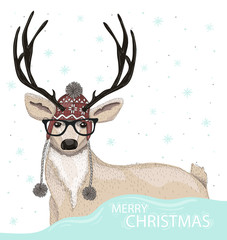 Cute hipster deer with hat and glasses winter background. Christ