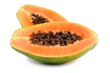 papaya fruit  isolated on white