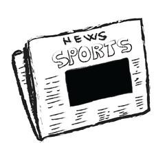 Cartoon sports news with blank photo