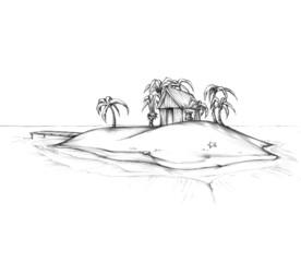 Hütte auf einer einsamen Insel