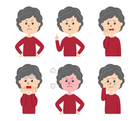 A set of six pose variations of unhappy old woman