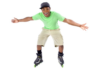 young adult black man balancing on rollerblade skates