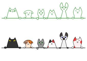 猫 一列 コピースペース