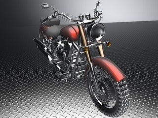 Custom RED motorcycle on a white background