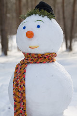 snowman orange scarf closeup