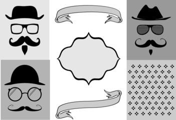 hipster style cartoon set