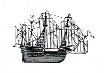 English sailing ship, 16th century