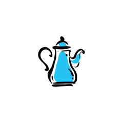 Illustrated teapot icon on white background, vector illustration
