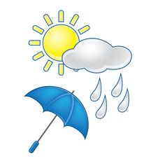 Weather symbols vector set, umbrella with rain