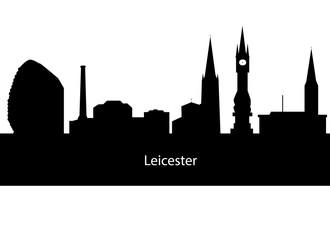 Leicester, England skyline. Detailed silhouette. Vector illustra
