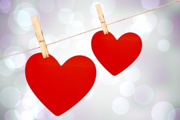 Wall Mural - Two hearts on a clothes line