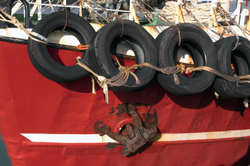 Fishing boat with tires
