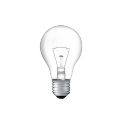 Turned off electric light bulb isolated on white background