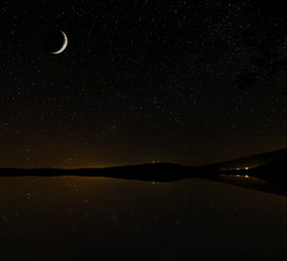 starry sky, and moon Bay