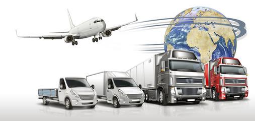 Spedition, Logistik, Truck, Flugzeug und Kleintransporter mit Gl