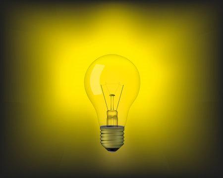 Realistic yellow light bulb  shining in the dark.