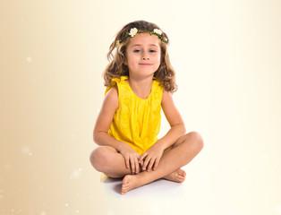 Blonde cute girl with flowers in their hair