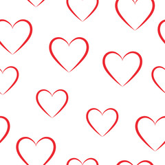 Seamless pattern of red hearts on a white background.