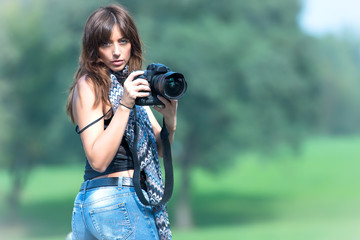 Beautiful woman photographer