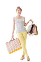 Cheerful shopping woman