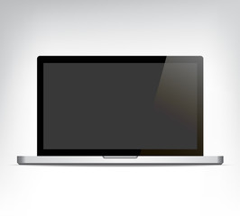 vector realistic opened laptop personal computer, computer