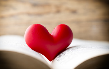 Red heart of the book. Greeting cards.