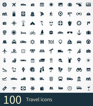 100 travel icons set