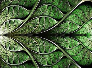 Canvas Afdrukken  - abstract plant background, fractal illustration