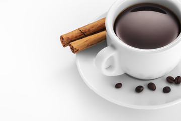 Cup of coffee with cinnamon and beans.