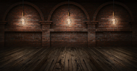 Edison bulbs on wall brick background